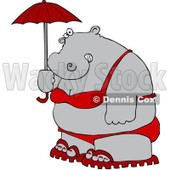Clipart Fat Hippo Holding A Parasol And Wearing A Red Bikini And Sandals - Royalty Free Vector Illustration © djart #1109994
