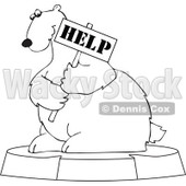 Clipart Outlined Cartoon Endangered Polar Bear Holding A Help Sign - Royalty Free Vector Illustration © djart #1110161