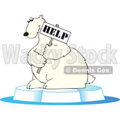 Clipart Endangered Polar Bear Holding A Help Sign - Royalty Free Vector Illustration © Dennis Cox #1110167