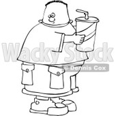 Clipart Outlined Chubby Boy Holding A Fountain Soda - Royalty Free Vector Illustration © djart #1110847