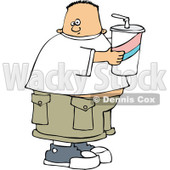 Clipart Chubby White Boy Holding A Fountain Soda - Royalty Free Vector Illustration © djart #1110852