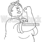 Clipart Outlined Chubby Rosie The Riveter Flexing Her Strong Muscles - Royalty Free Vector Illustration © djart #1110900