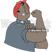 Clipart Chubby Black Rosie The Riveter Man Flexing His Muscles - Royalty Free Vector Illustration © Dennis Cox #1110921