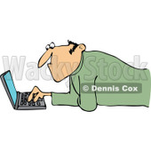 Clipart Man Propped Up On His Elbows And Using A Laptop On The Floor - Royalty Free Vector Illustration © djart #1110923