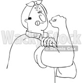 Clipart Outlined Chubby Rosie The Riveter Man Flexing His Muscles - Royalty Free Vector Illustration © Dennis Cox #1110926