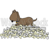 Clipart Hound Dog Protecting His Pile Of Bones - Royalty Free Vector Illustration © djart #1110927