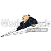 Clipart Businessman Flying On A Paper Plane - Royalty Free Vector Illustration © Dennis Cox #1110929