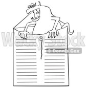 Clipart Outlined Office Monster In An Envelope - Royalty Free Vector Illustration © djart #1111305