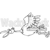 Clipart Outlined Happy Bird Flying - Royalty Free Vector Illustration © djart #1111306
