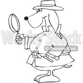 Clipart Outlined Private Detective Dog Using A Magnifying Glass - Royalty Free Vector Illustration © Dennis Cox #1111307