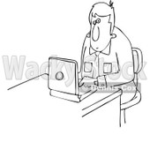 Clipart Outlined Businessman Working On A Laptop - Royalty Free Vector Illustration © Dennis Cox #1111308