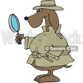 Clipart Private Detective Dog Using A Magnifying Glass - Royalty Free Vector Illustration © Dennis Cox #1111311