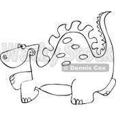 Clipart Outlined Scared Dinosaur - Royalty Free Vector Illustration © djart #1111984