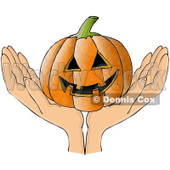 Clipart Hands Holding A Grinning Carved Halloween Jackolantern Pumpkin - Royalty Free Illustration © djart #1112772
