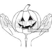 Clipart Outlined Hands Holding A Carved Halloween Jackolantern Pumpkin - Royalty Free Vector Illustration © Dennis Cox #1112773