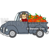 Clipart Cowboy Pumpkin Farmer Driving A Load In His Pickup Truck - Royalty Free Vector Illustration © djart #1112774