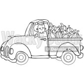 Clipart Outlined Cowboy Pumpkin Farmer Driving A Load In His Pickup Truck - Royalty Free Vector Illustration © djart #1112775