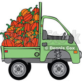 Clipart Green Kei Truck With Harvested Pumpkins - Royalty Free Vector Illustration © djart #1112776