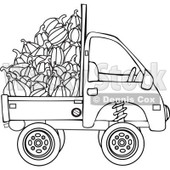 Clipart Outlined Kei Truck With Harvested Pumpkins - Royalty Free Vector Illustration © djart #1112777
