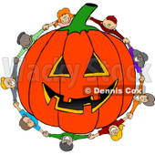 Clipart Diverse Kids Holding Hands Around A Carved Jackolantern Halloween Pumpkin - Royalty Free Vector Illustration © djart #1112778