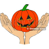 Clipart Hands Holding A Carved Halloween Jackolantern Pumpkin - Royalty Free Vector Illustration © djart #1112779