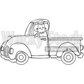Clipart Outlined Cowboy Driving A Blue Pickup Truck - Royalty Free Vector Illustration © djart #1112780