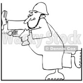Clipart Outlined Construction Worker Man Using A Power Drill - Royalty Free Vector Illustration © djart #1112783