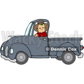 Clipart Cowboy Driving A Blue Pickup Truck - Royalty Free Vector Illustration © Dennis Cox #1112784