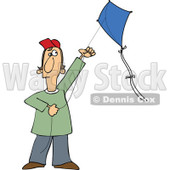 Clipart Guy Flying A Kite - Royalty Free Vector Illustration © djart #1112785