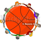 Clipart Diverse Kids Holding Hands Around A Basketball - Royalty Free Vector Illustration © Dennis Cox #1112788
