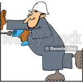 Clipart Construction Worker Man Using A Power Drill - Royalty Free Vector Illustration © djart #1112789