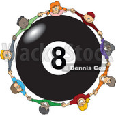 Clipart Diverse Happy Children Holding Hands Around A Billiards 8 Ball - Royalty Free Vector Illustration © djart #1113537