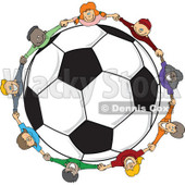 Clipart Diverse Children Holding Hands Around A Soccer Ball - Royalty Free Vector Illustration © djart #1113538