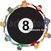 Clipart Diverse Children Holding Hands Around A Billiards 8 Ball - Royalty Free Vector Illustration © djart #1113542
