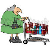 Gray Haired Woman Pushing a Shopping Cart in a Grocery Store Clipart Picture © djart #11138