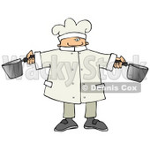 Male Chef Holding Two Pots in a Kitchen Clipart Picture © Dennis Cox #11139