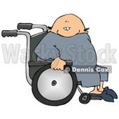 Bald Senior Man Sitting in a Wheelchair Clipart Picture © djart #11140
