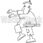 Clipart Outlined Halloween Frankenstein Walking - Royalty Free Vector Illustration © djart #1114009