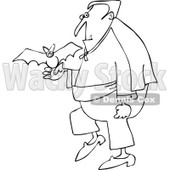 Clipart Outlined Halloween Vampire With A Pet Bat - Royalty Free Vector Illustration © djart #1114010