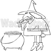 Clipart Outlined Halloween Witch Eating Over Her Cauldron - Royalty Free Vector Illustration © Dennis Cox #1114011
