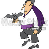 Clipart Halloween Vampire With A Pet Bat - Royalty Free Vector Illustration © djart #1114013