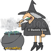 Clipart Halloween Witch Eating Over Her Cauldron - Royalty Free Vector Illustration © djart #1114014