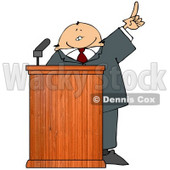 Man in a Suit at a Podium Giving a Passionate Public Speech Clipart Picture © djart #11142