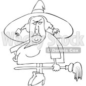 Clipart Outlined Ugly Witch Holding A Broom - Royalty Free Vector Illustration © Dennis Cox #1114214