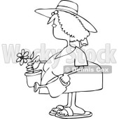 Clipart Outlined Woman Holding A Potted Flower And Watering Can - Royalty Free Vector Illustration © djart #1114215