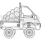 Clipart Outlined Kei Truck With Basketballs - Royalty Free Vector Illustration © djart #1114218