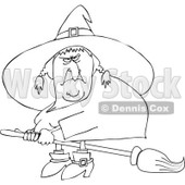 Clipart Outlined Mean Ugly Witch Flying On A Broom - Royalty Free Vector Illustration © djart #1114220