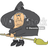 Clipart Mean Ugly Witch Flying On A Broom - Royalty Free Vector Illustration © djart #1114221