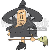 Clipart Ugly Witch Holding A Broom - Royalty Free Vector Illustration © Dennis Cox #1114222