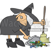 Clipart Ugly Witch Sweeping Up Spell Items With A Broom - Royalty Free Vector Illustration © djart #1114223